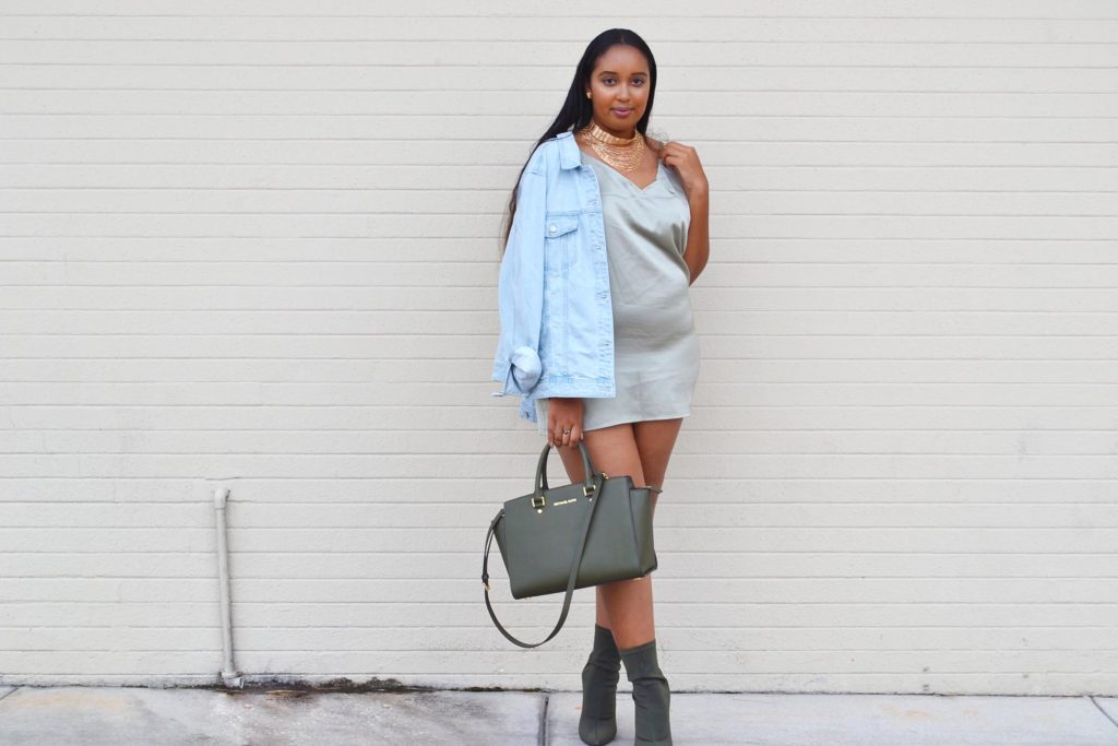25c36d23f8d34 I decided to keep it green and style the dress with my Lola Shoetique   Break the Internet  booties and my green Michael Kors Selma. I threw a  denim jacket ...