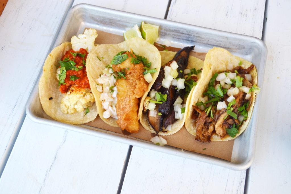 cauliflower taco, baja fish taco, portobello taco, duck taco