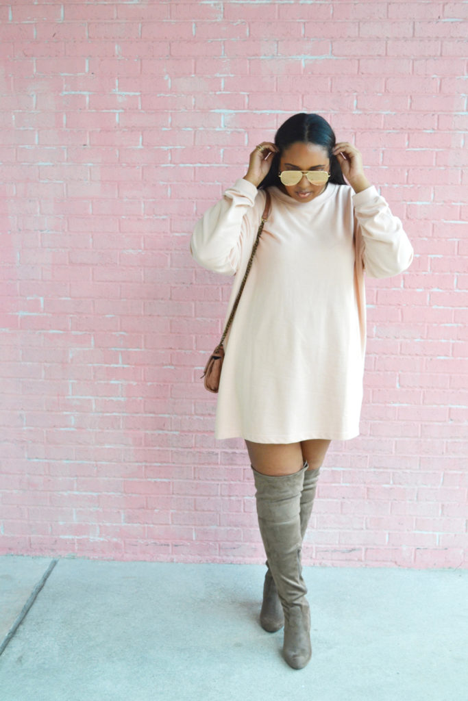 Missguided oversized jumper dress nude, thigh high boots, Quay x Desi Perkins High Key sunglasses - From Nubiana, With Love