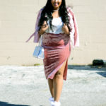 Zara pink faux leather jacket, Aritzia Wilfried minou camisole, Missguided pink velvet midi skirt, Topshop embellished platform heels