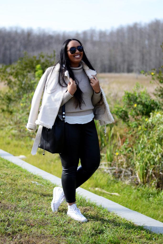 faux leather leggings, Zara faux shearling coat, white converse all-stars