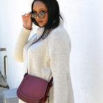 winter neutrals: oversized sweater, cat eye shades, Coach saddle bag