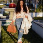 #ootd: silky casuals: Zara oversized silk top, American Eagle destroyed jeans, Zara faux fur coat, Target mules   www.fromnubiana.com