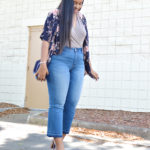Cropped flare jeans, bodysuit, floral cardigan, mules | www.fromnubiana.com