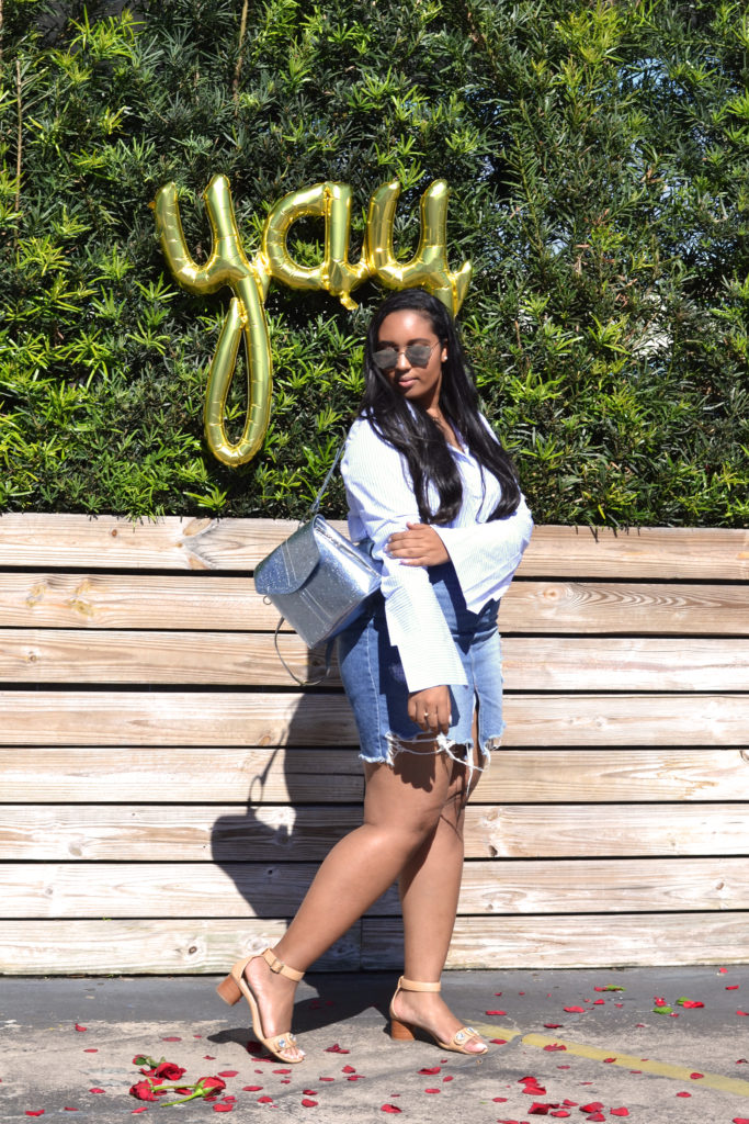 Rihanna-inspired stripes + destroyed denim skirt look