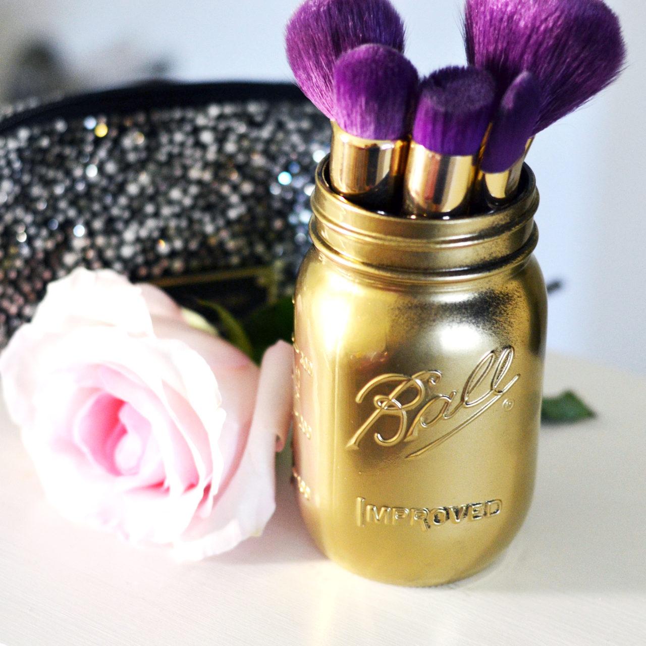 DIY Mason Jar Makeup Brush Holders with Orchard Supply Hardware