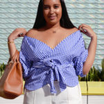 gingham top, off the shoulder gingham