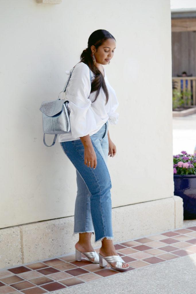 metallic accessories // two tone jeans, silk shirt