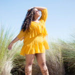 yellow dobby tiered dress - misguided