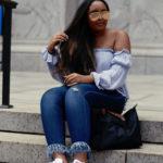 Off the shoulder top - Forever 21 | Frayed fringe bottom jeans - Fashion Nova