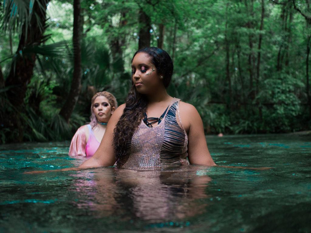 mermaid vibes - ASOS bathing suit, fashion nova metallic woven coverup