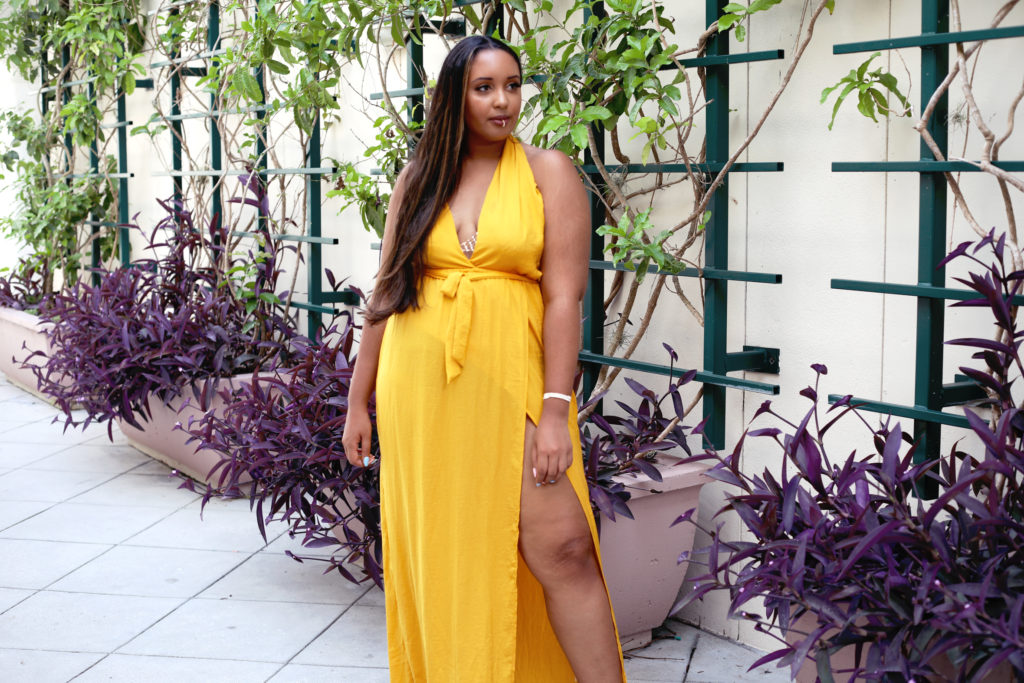 Yellow Twist Neck Maxi Dress (Missguided), Windsor rhinestone bralette, Lace by Tanaya jewelry