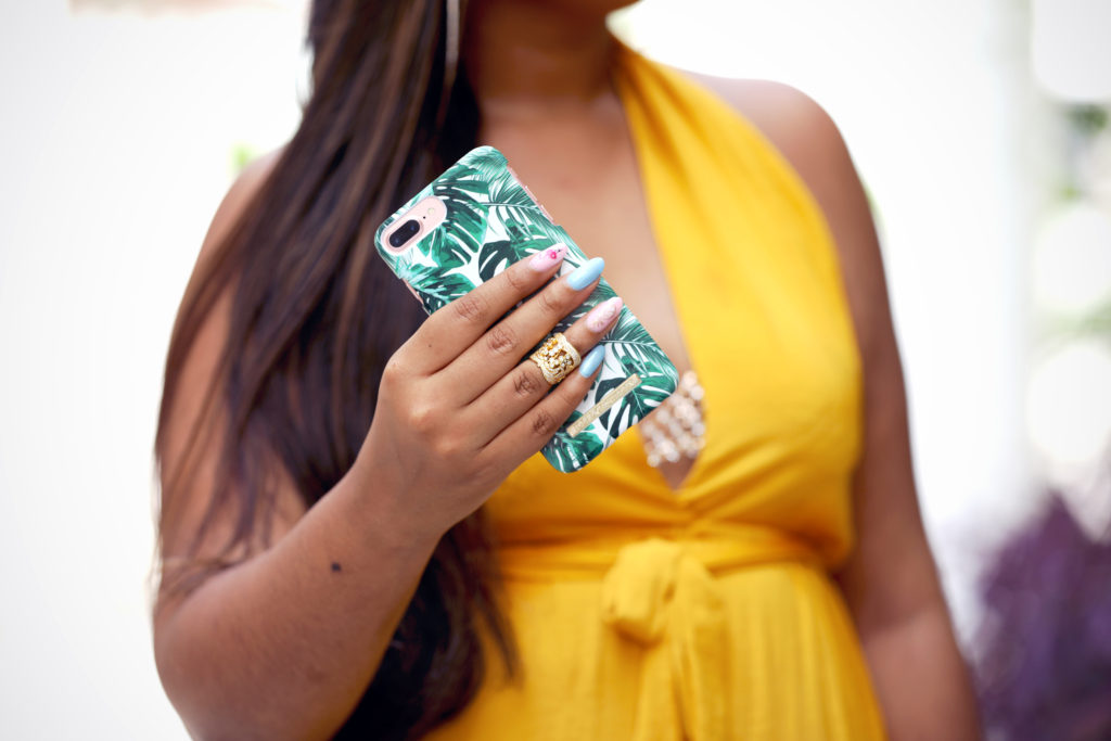 Yellow Twist Neck Maxi Dress (Missguided), Windsor rhinestone bralette, Lace by Tanaya jewelry, iDeal of Sweden phone case