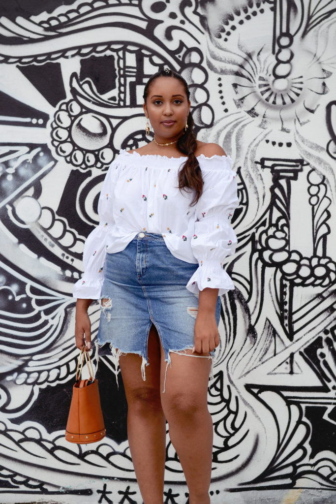 Zara top, River Island destroyed denim skirt, summer ootd, casual outfit