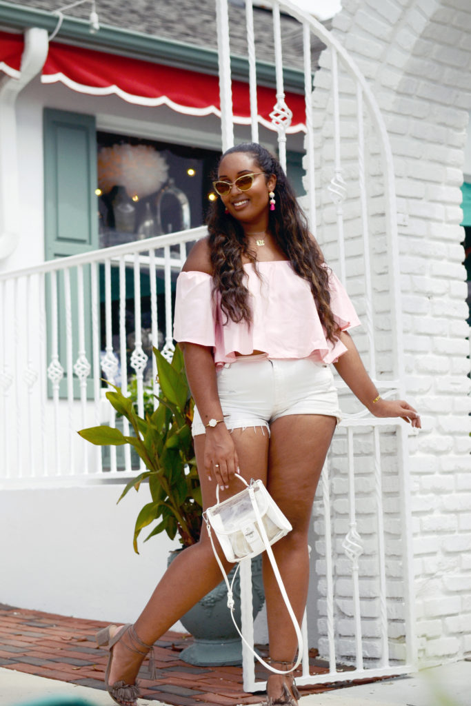 Off shoulder crop top from Romwe