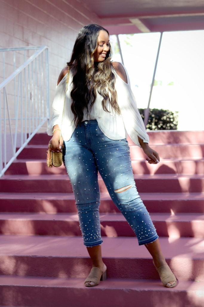 H&M Beaded Jeans