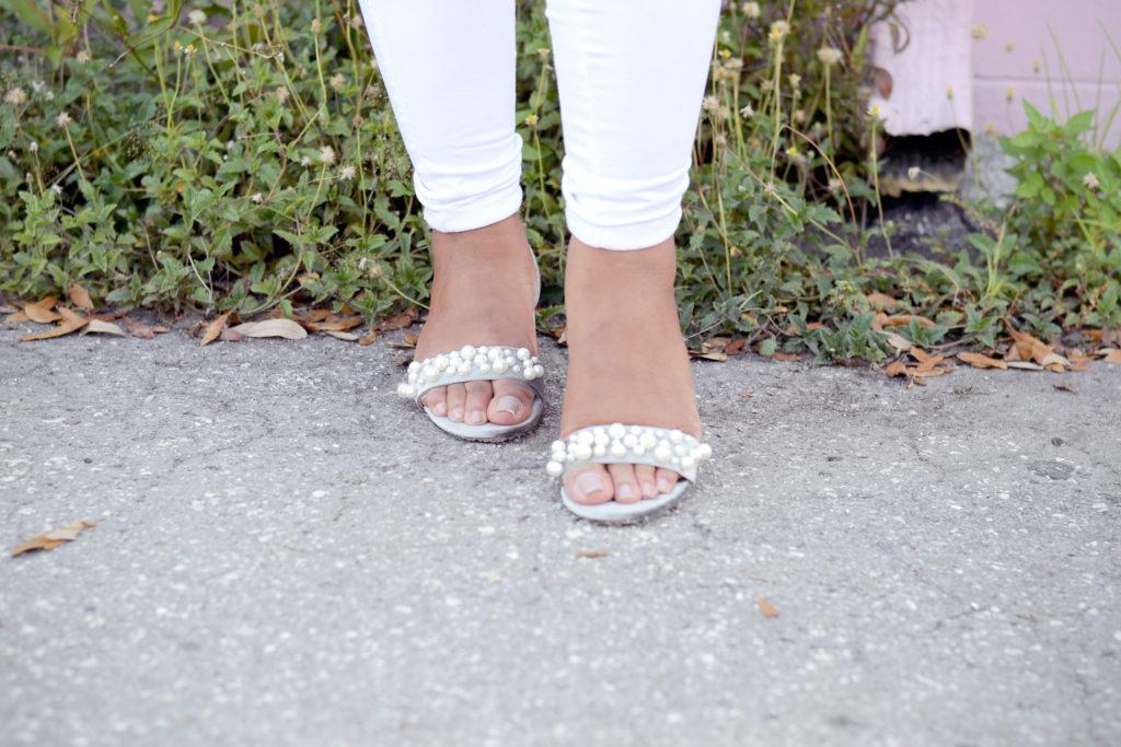 Zara Velvet High Heel Sandals with Pearl Applique