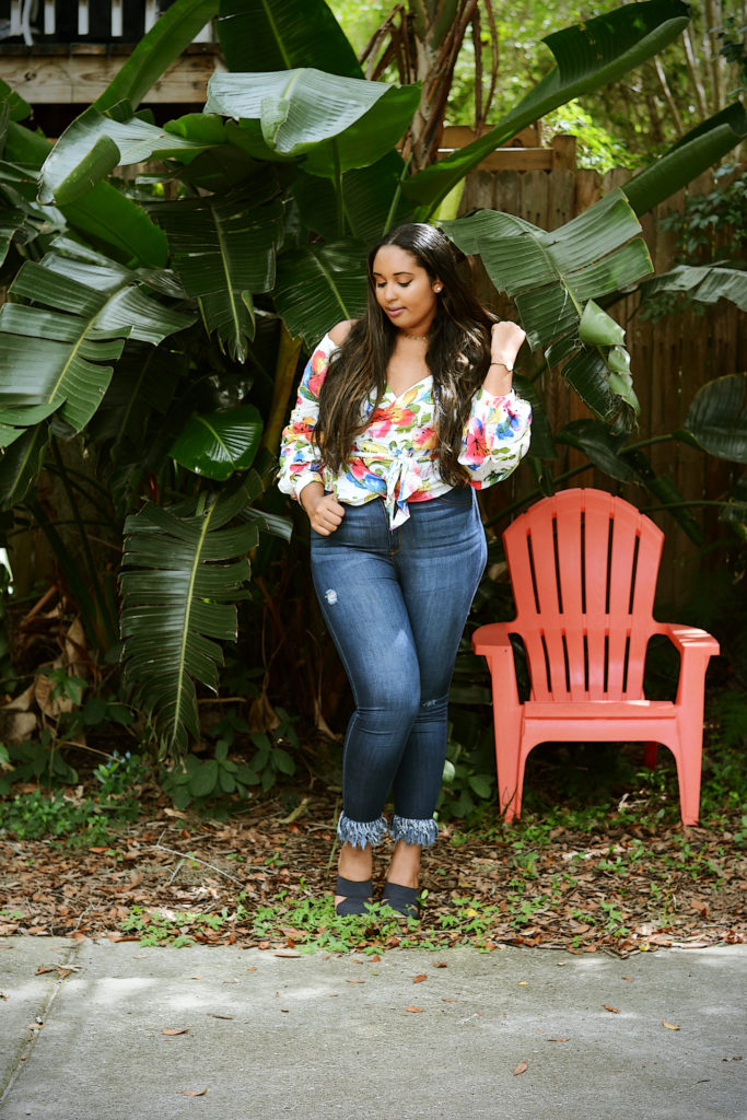 White Floral Wrap Over Gathered Sleeve Top from Missguided, In The Fray Jeans from Fashion Nova, Celia mules from UGG