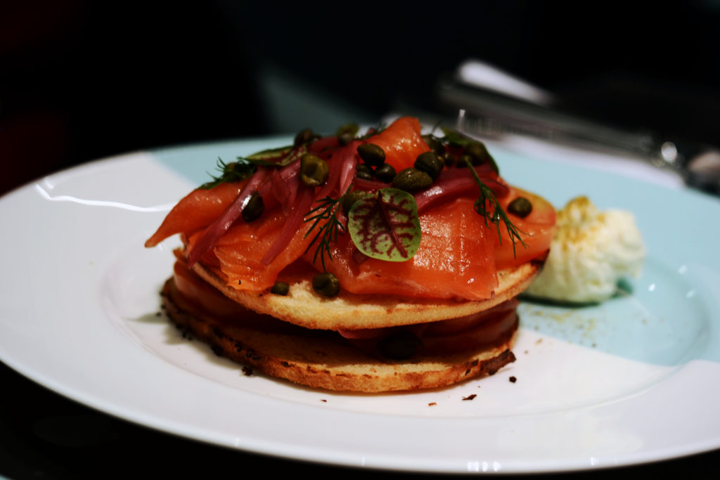 Breakfast at Tiffany's: My Experience at The Blue Box Cafe - Smoked Salmon & Bagel Stack with cream cheese smear, beefsteak tomato, capers, and red onion