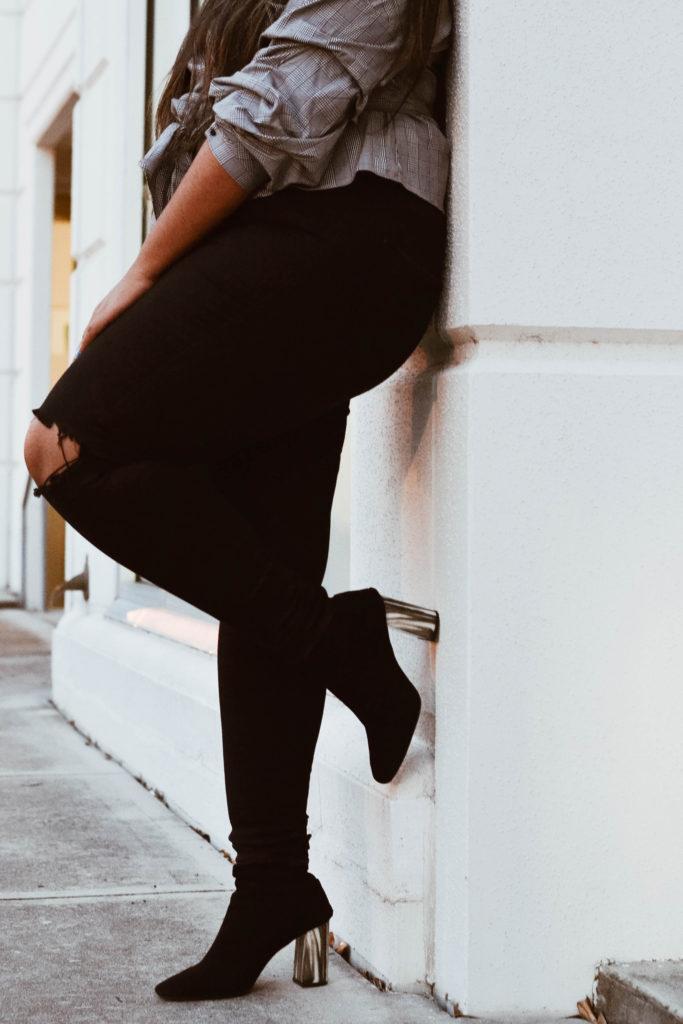 Mixing Patterns: Plaid Zara top, Marble heeled Topshop booties