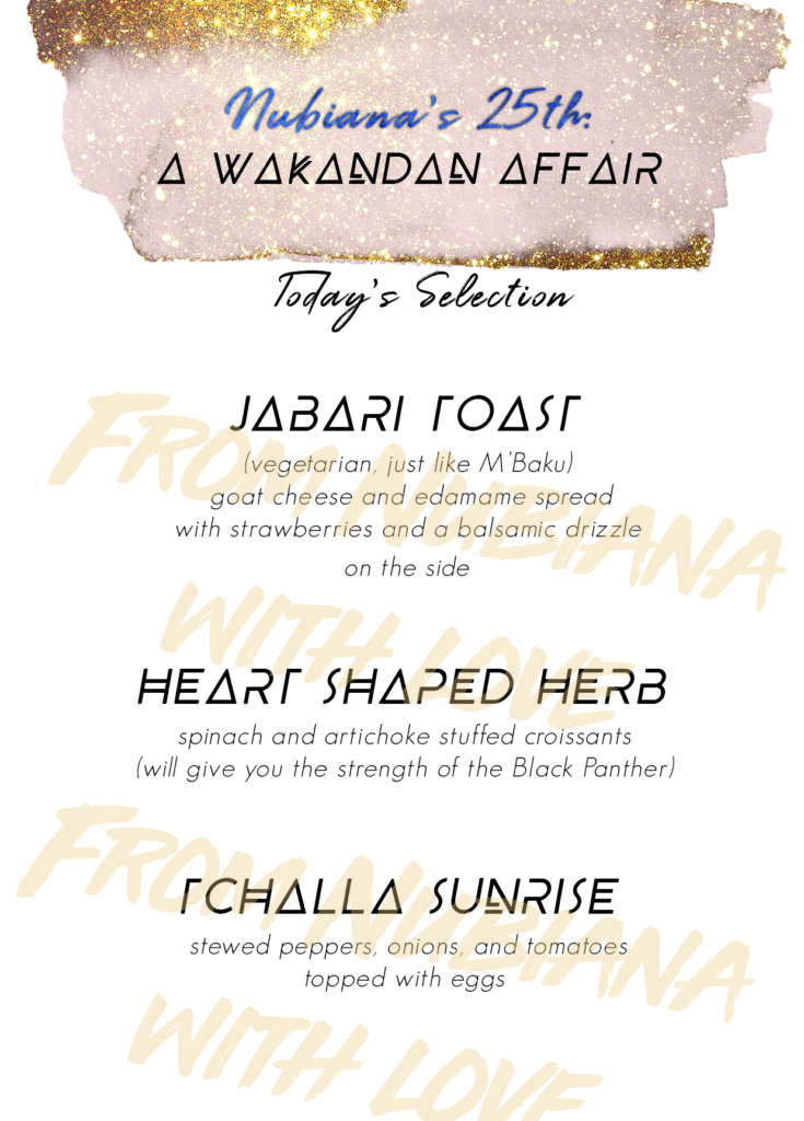 Black Panther Themed Birthday Party - Food Menu