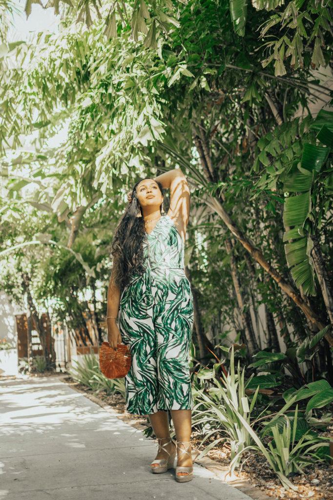 Miami Swim Week Look 1 // Who What Wear Women's Palm Print Tie Back Jumpsuit