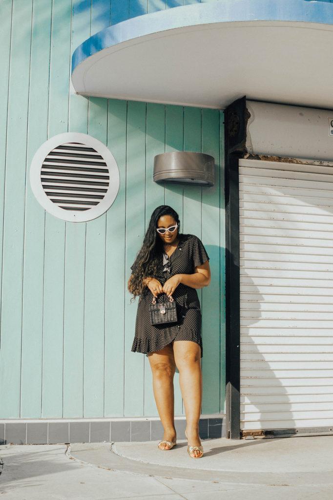 Miami Swim Week lookbook // Who What Wear for Target Women's Short Sleeve Mini Wrap Dress