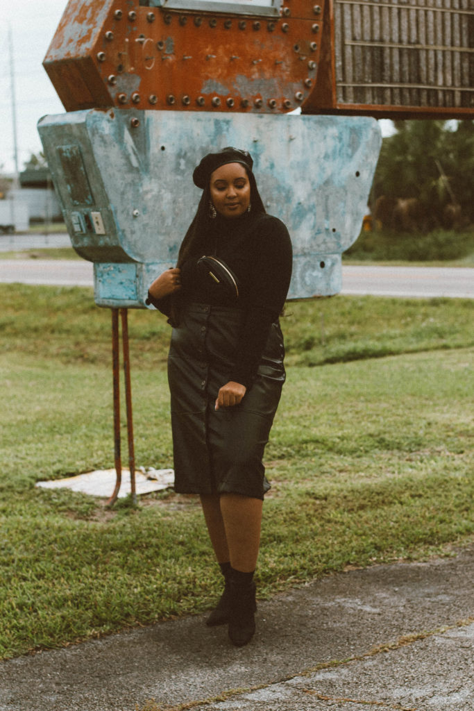 Black Leather Midi Skirt   Who What Wear x Target