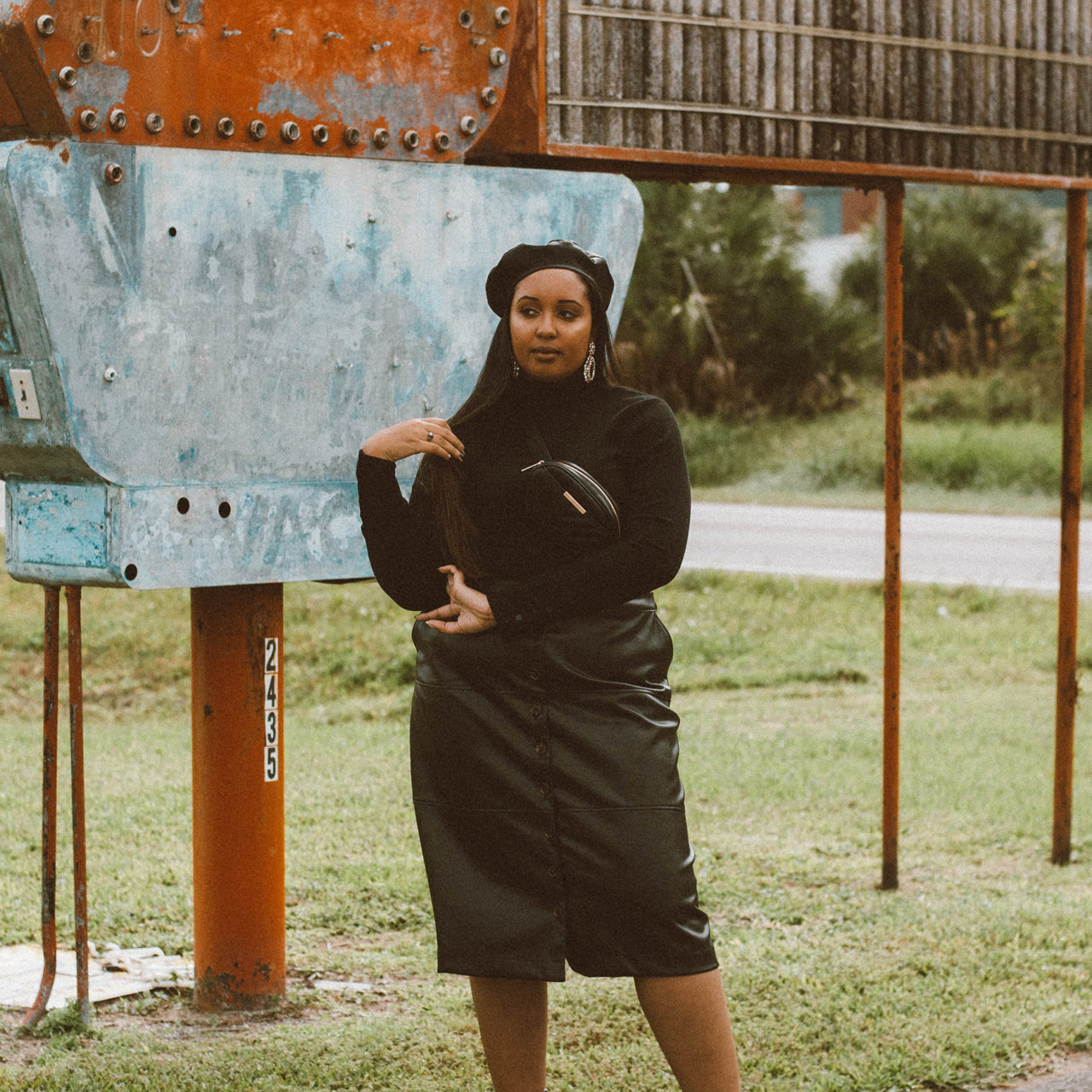 The Black Leather Midi Skirt