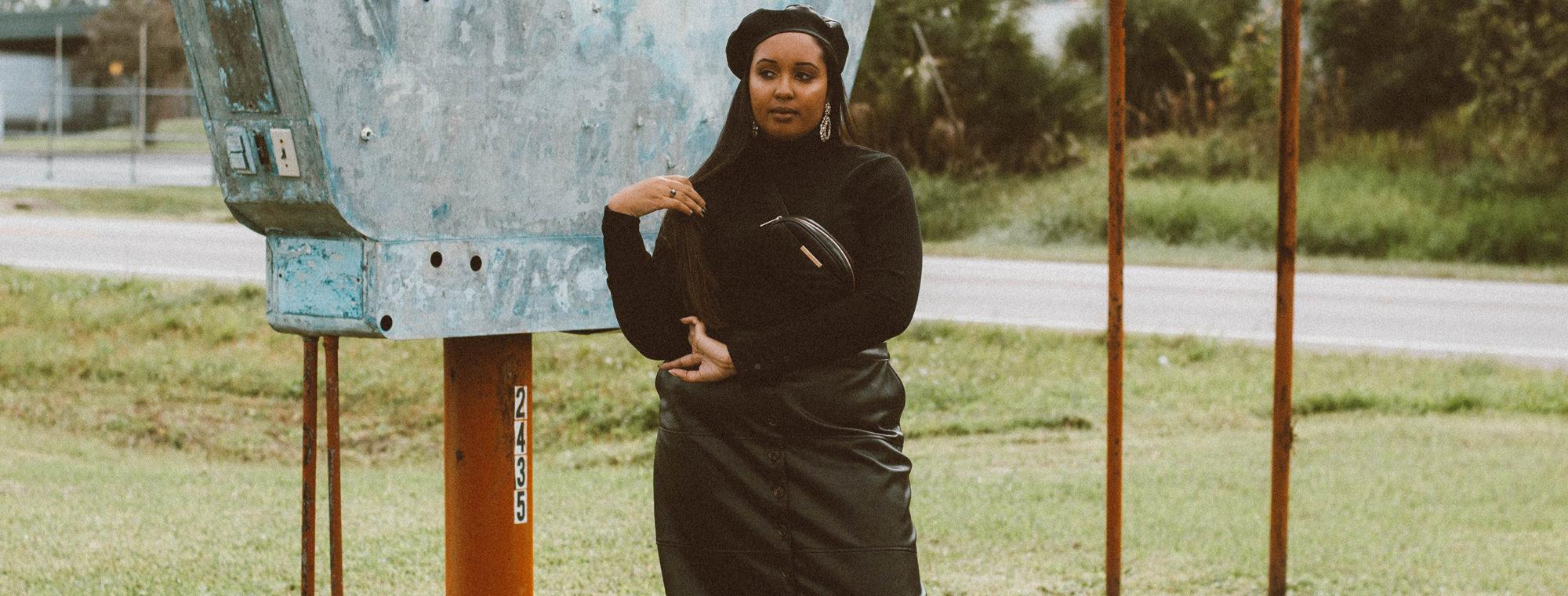 The Black Leather Midi Skirt