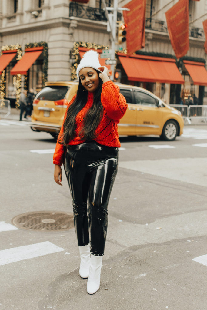 Missguided Black Vinyl Leggings | Casual Valentine's Day outfit