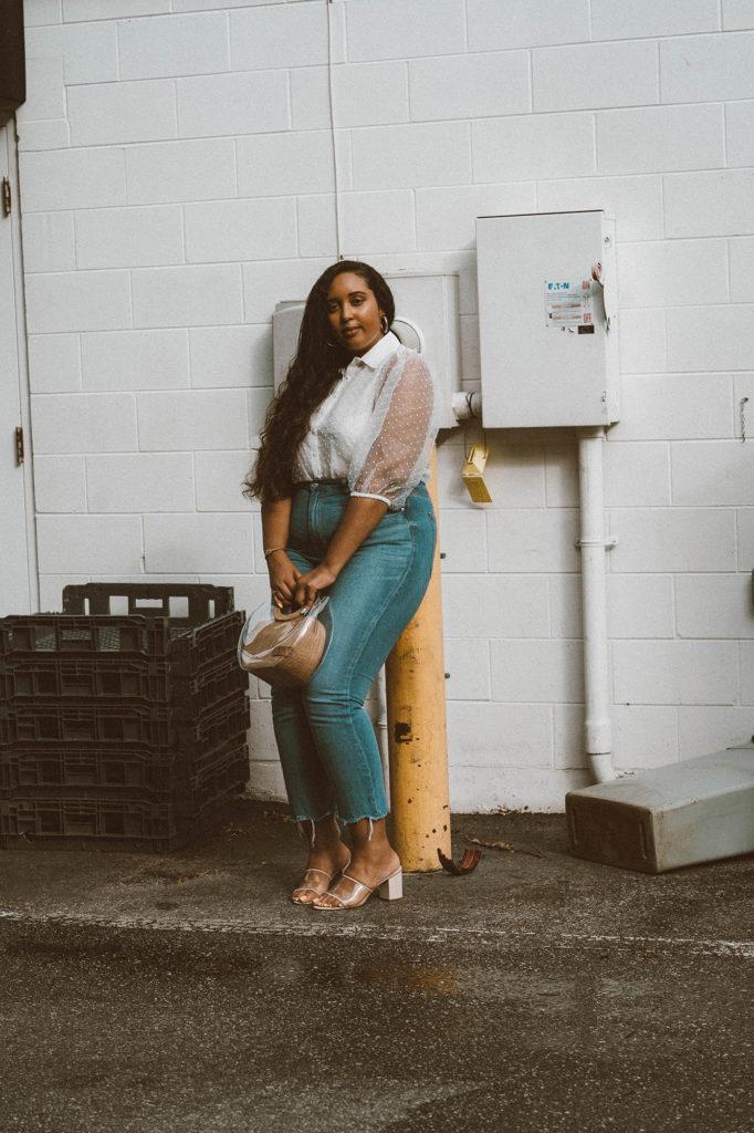 STAUD Frida leather & PVC bag