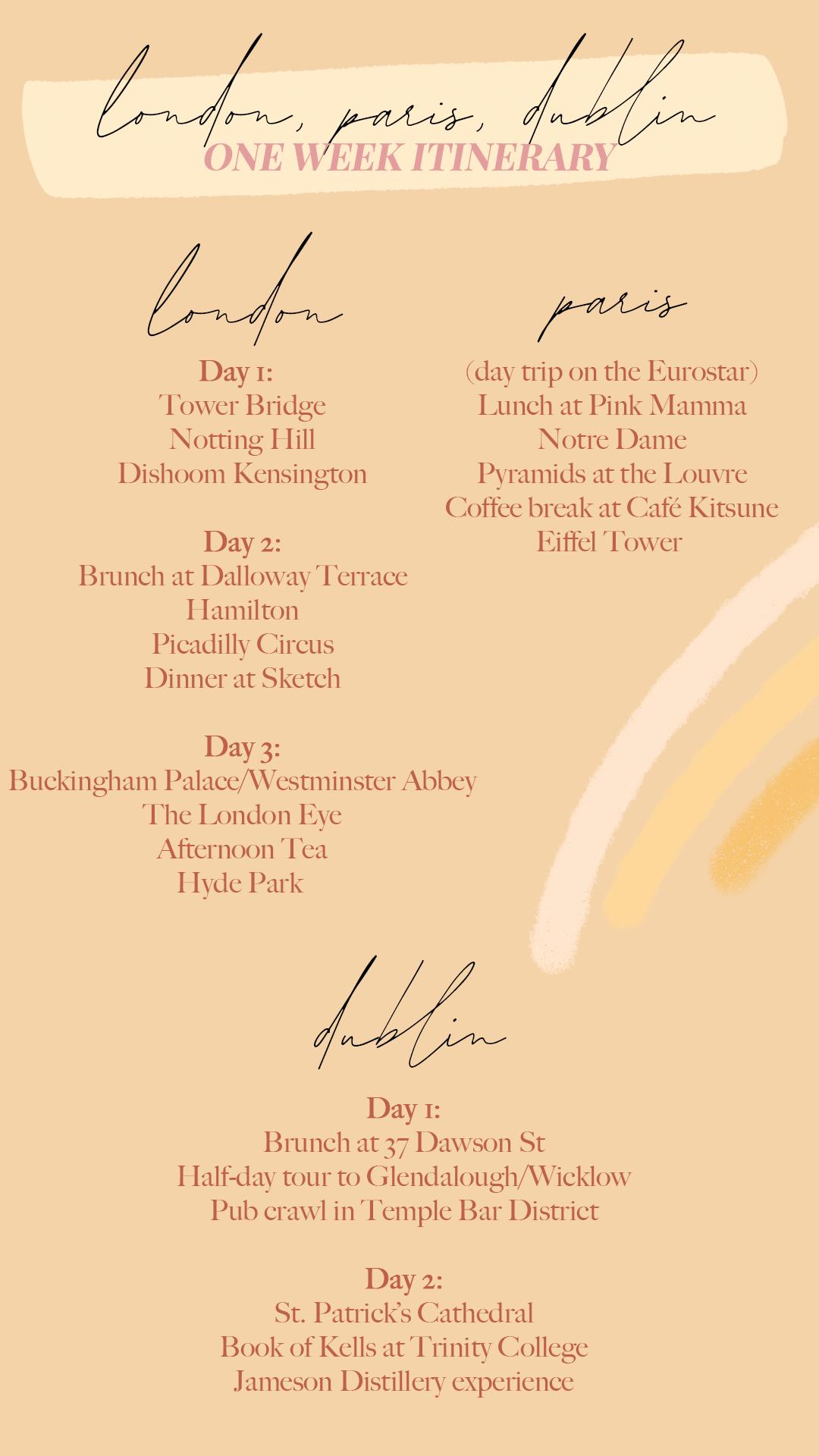 6 Day Eurotrip: London, Paris, Dublin Itinerary | www.fromnubiana.com