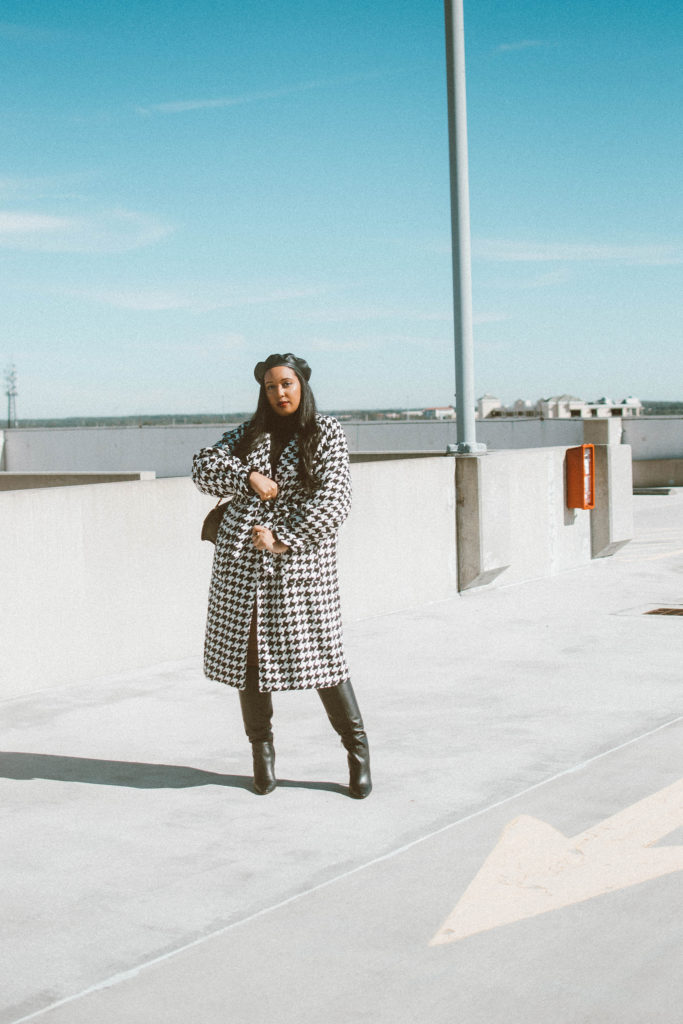 Lorna Luxe x In The Style Gabrielle Houndstooth Oversized Coat and Micro Mini Skirt