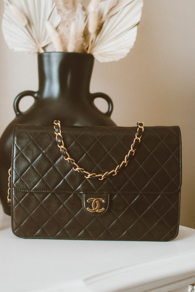 Vintage Chanel tall single flap bag