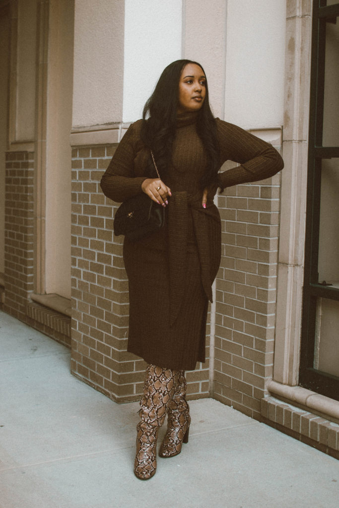 Audrey Leighton Vintage Sweater Wrap Dress in Brown