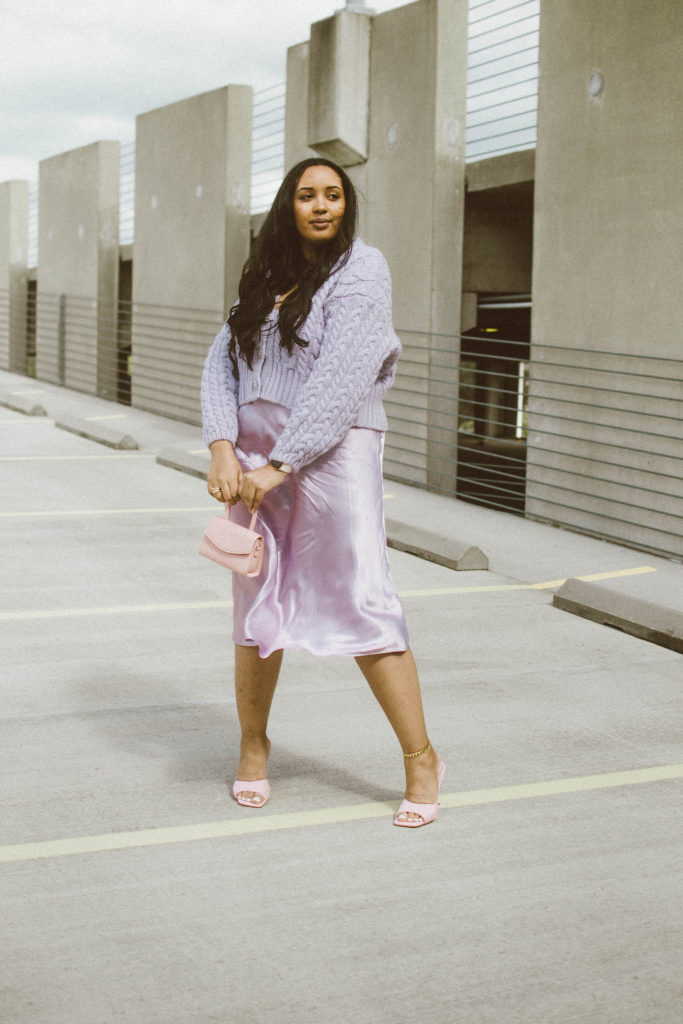 Purple Monochromatic Valentine's Day Outfit; cable-knit cardigan from Zara and satin skirt from H&M